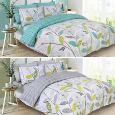 Reversible Duvet Cover with Pillowcase Bedding Set Check Allium Grey From £9.99