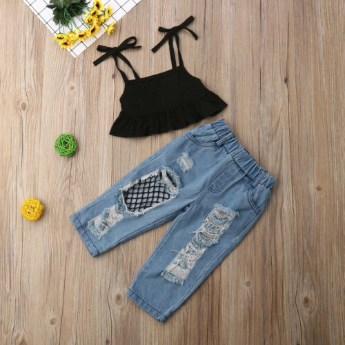 Toddler Kids Baby Girls Crop Top T-shirt Ripped Jeans Pants Clothes Outfits