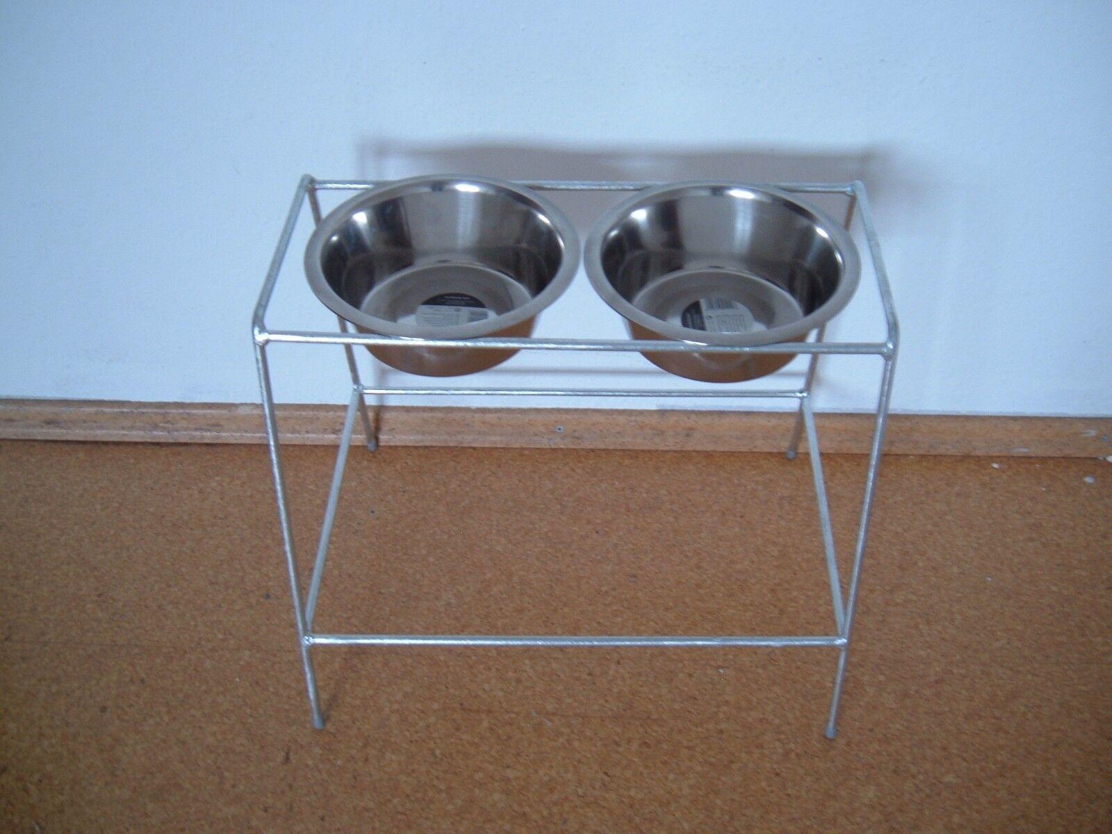 Futterbar Gr.L Naprhalter für Hunde incl. 2 Edelstahlnäpfe Golden Retriever  NEU  | Vielfalt