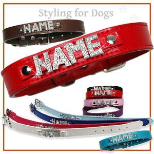 Hundehalsband-mit-Namen-Strassbuchstaben-Hund-Halsband-Name-Pu-Leder-Hundenamen