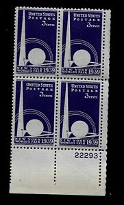 US-1939-SC-853-3-c-NY-Worlds-Fair-Mint-NH-Plate-Block-of-4-Vivid-Color