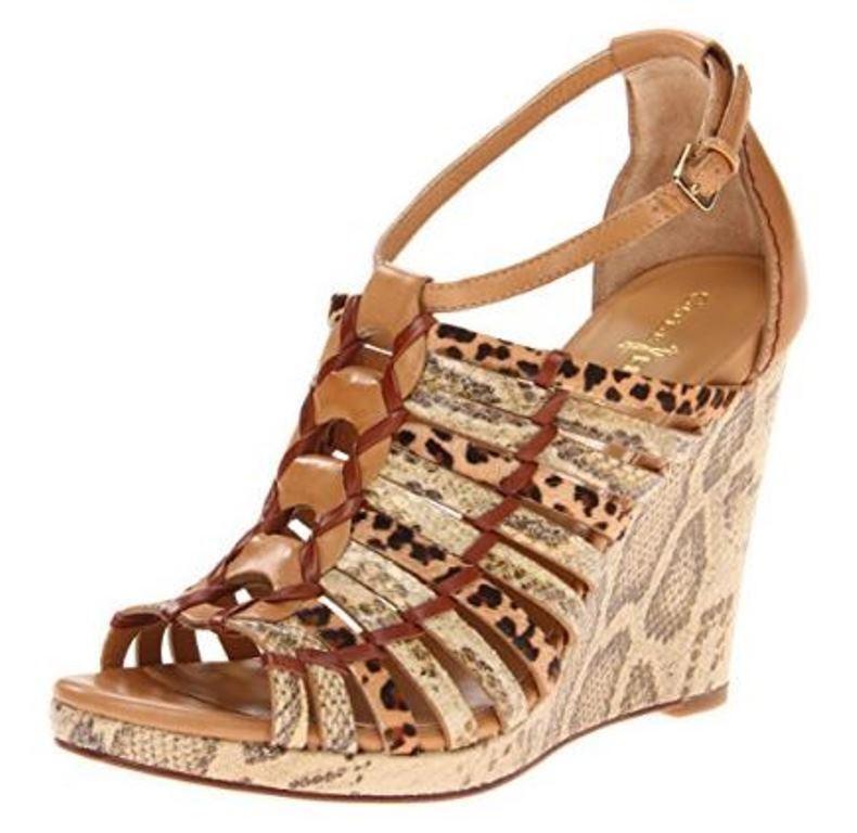 Women's Women's Women's  Shoes Cole Haan AIR MINKA Wedge Platforms Sandals Heels Cream Leopard 5e2e4c