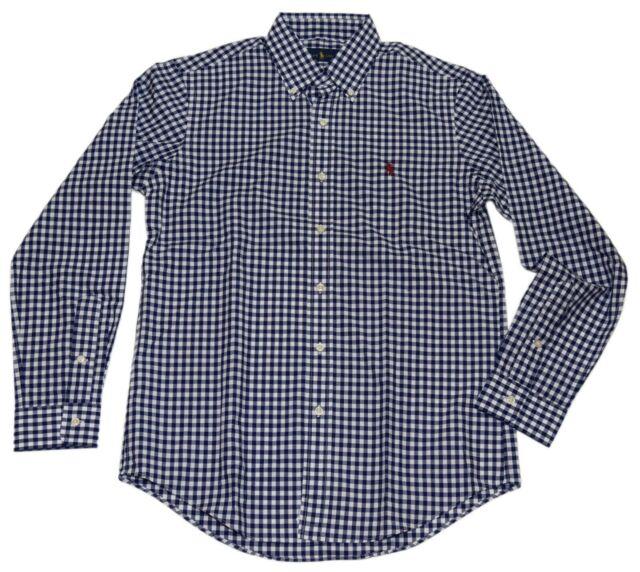 Polo Ralph Lauren Mens Button Down Dress Shirt Gingham Plaid Check Navy Small