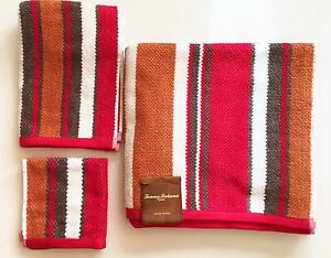 Neuf-Tommy-Bahama-3-Pieces-Kit-Rouge-Gris-Rouille-Coton-Raye-Bain