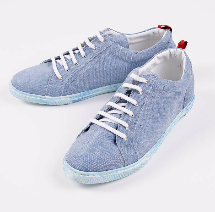 NIB $995 KITON NAPOLI Sky Blue Washed Canvas Low-Top Sneakers US 10 Shoes