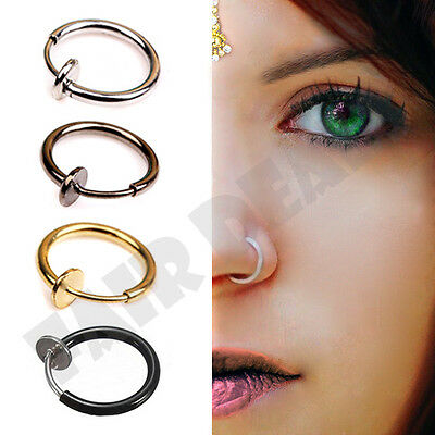 Navel Body Piercing Fake Hoop Nose Rings Clip On Nose Ring Fake No Piercing DS