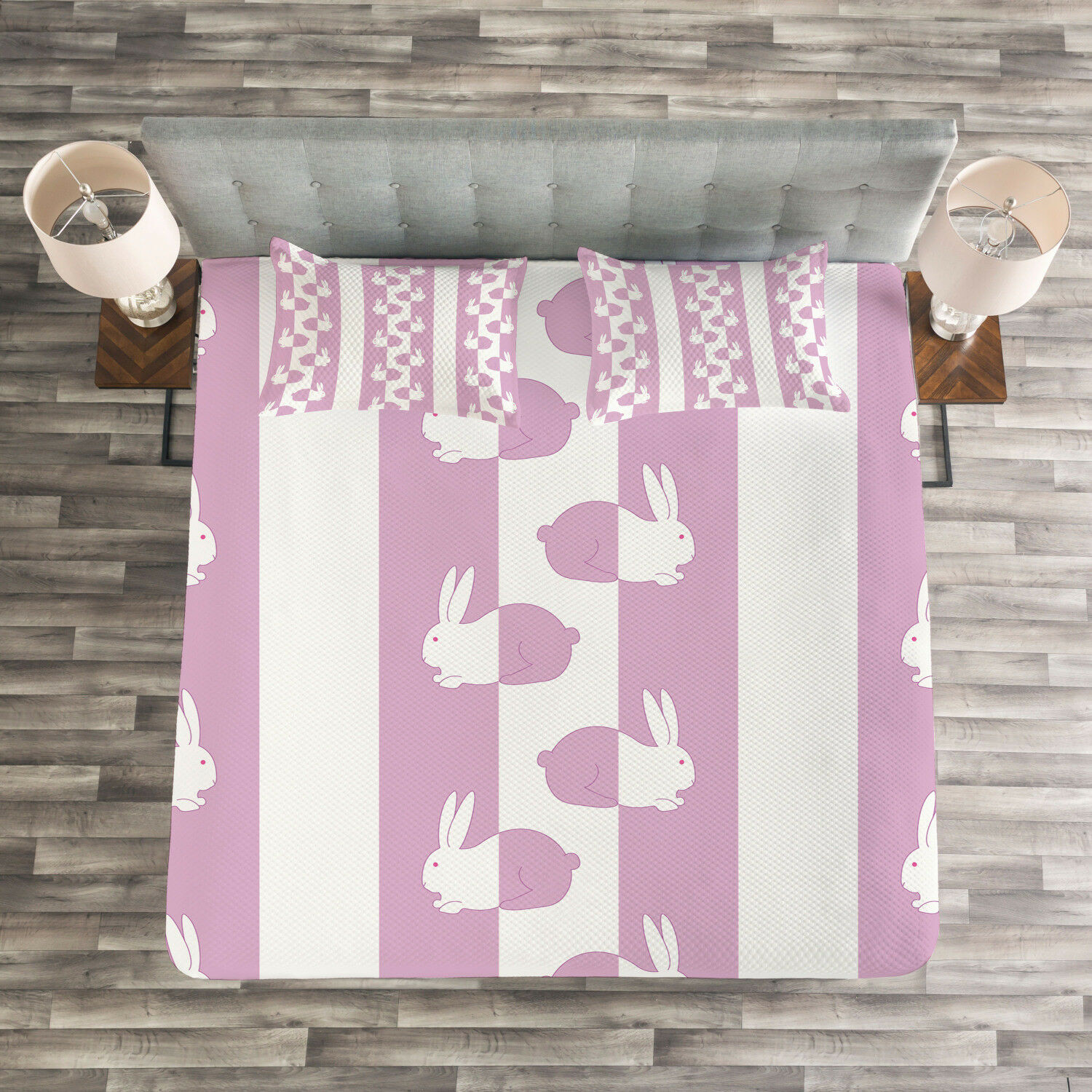 Easter Quilted Bedspread & Pillow Shams Set, Cute Bunny Rabbit Kids Print