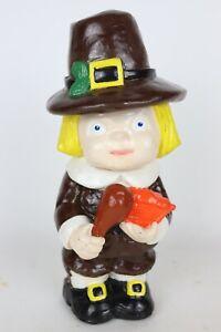"Vintage 1978 Carol Rardon Chalkware Pilgrim Boy Standing Figure Statue, 11"" Tall"