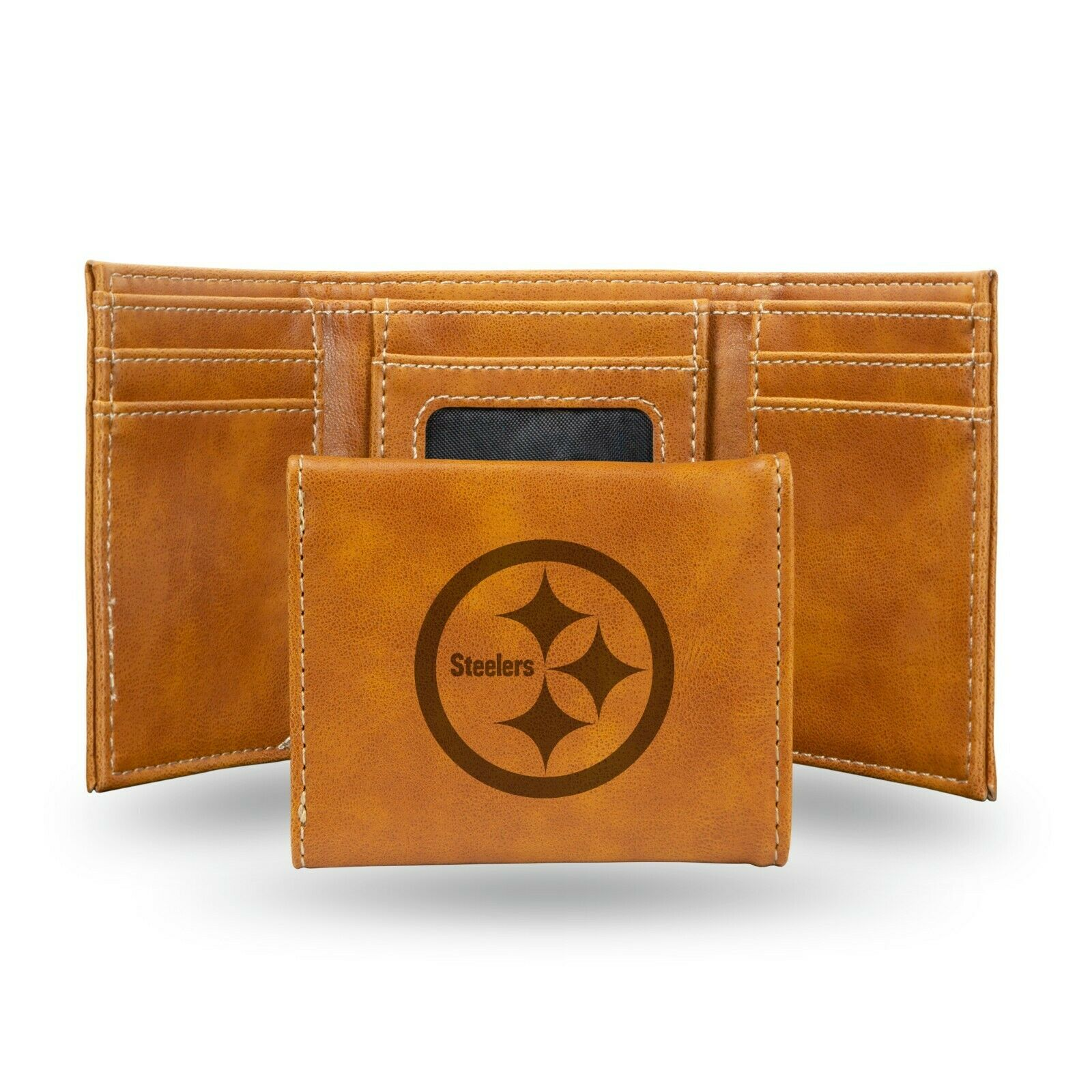 Pittsburgh Steelers Brown Laser Engraved Synthetic Leather Trifold Wallet NWT