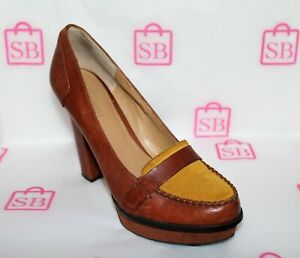 NINE-WEST-Brand-UNMIXED-Tan-Sueded-Leather-Heels-Size-7-5-LIKE-NEW