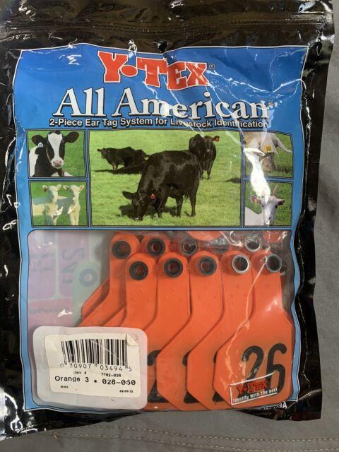 Y-TEX MEDIUM 3-STAR TAGS Calf//Cow Fade Tear Resistent Blank Red 25ct Pkg