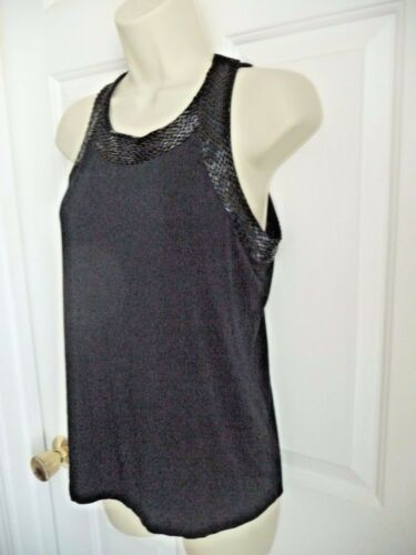 Soft Surroundings M Top Black Beaded MY TIME MY PL