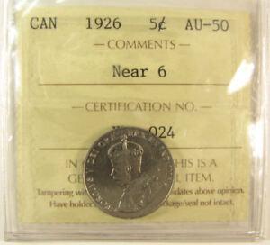 1926 NEAR 6  Canada 5 Cent  coin  ICCS grading AU-50