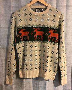 Mens-Vintage-McBRIAR-Orange-Green-Tan-Moose-Sweater-Medium-K31