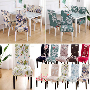 Details about Home Removable Floral Dining Room Chair Covers Wedding  Stretch Seat Cover Decor@