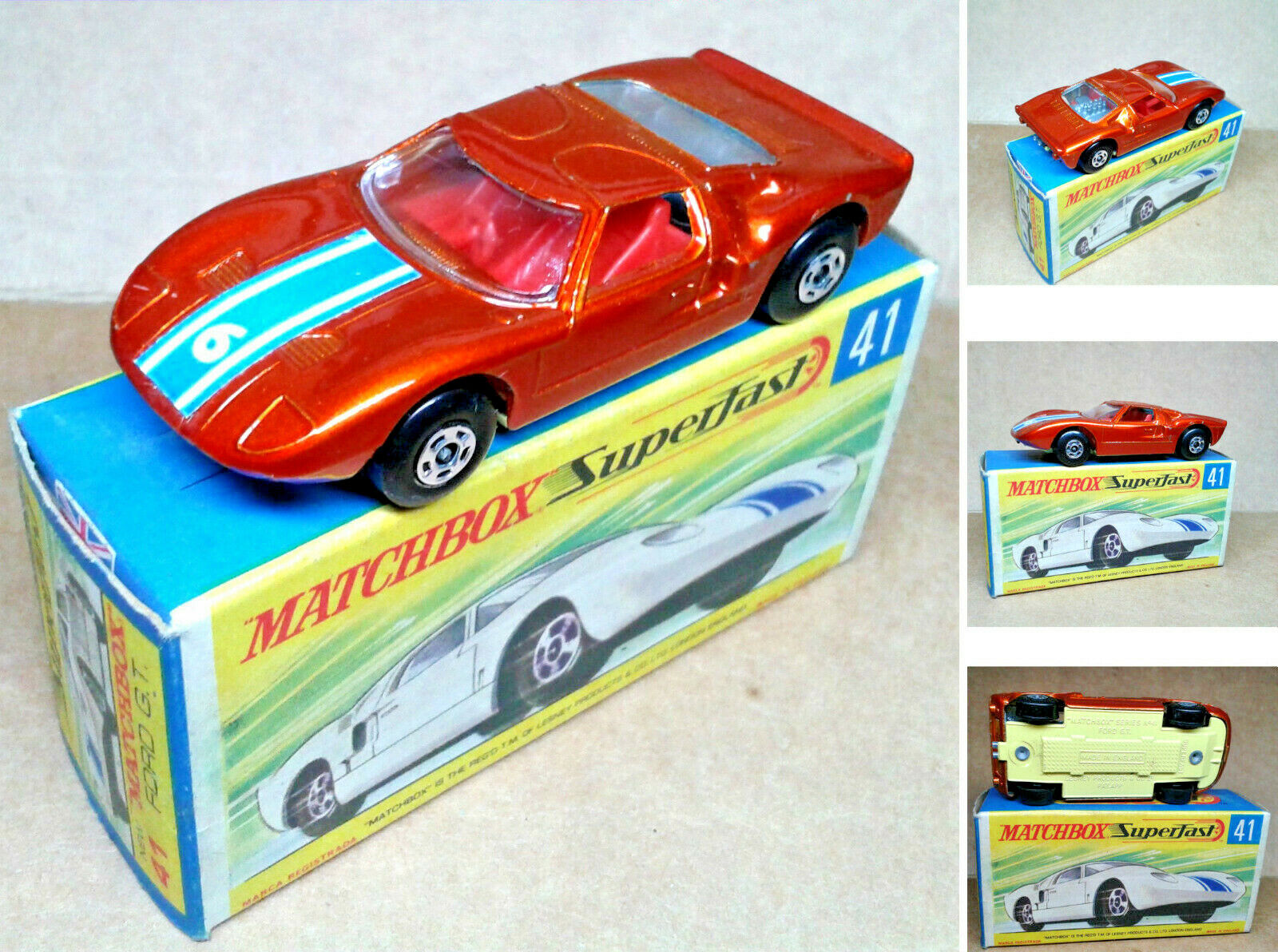 1 vintage (années) MATCHBOX SUPERFAST-NO.41 -  Ford GT G.T.  -  Comme neuf IN BOX