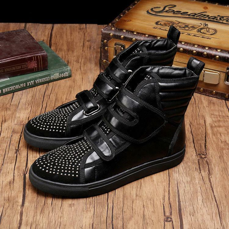 Punk Men Rivet Chukka Suede High Top Shoes Motorcycle Combat Ankle Boots Gothic