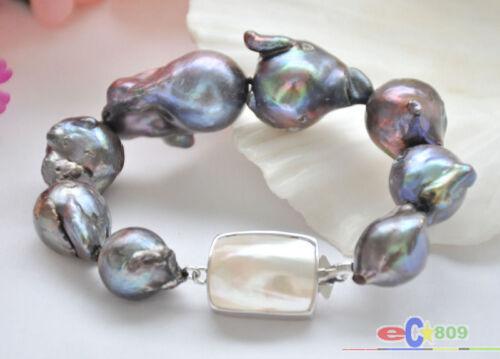 """P5293 Huge 8/"""" 30mm black baroque keshi reborn pearl bracelet"""