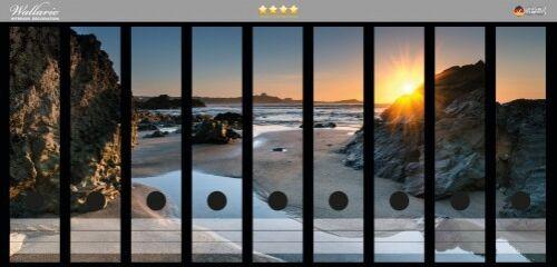 Wallario Ordnerrücken selbstklebend für 9 breite Ordner Sonnenuntergang Felsen