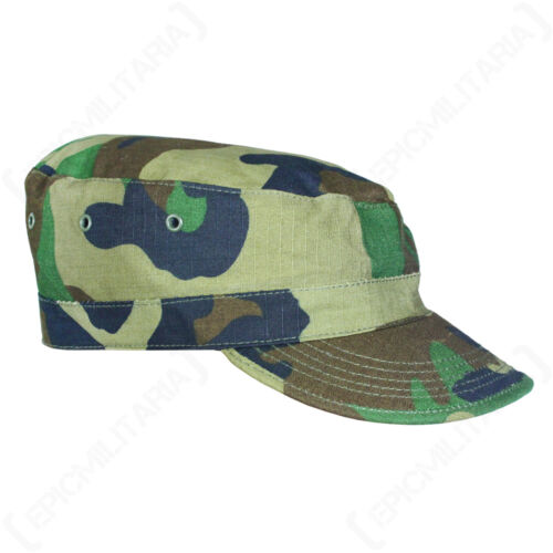 US Woodland Camo BDU CAP All Sizes American Army Field Hat Ripstop Camouflage