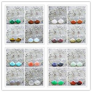 Mezcla-de-piedras-preciosas-abanico-amp-Plata-Tibet-Flor-Pendiente-enviados-al-azar-hx106