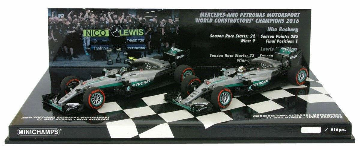 Minichamps Mercedes Constructors Champion 2016 Hamilton ROSBERG 2 Voiture Set 1 43