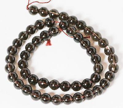 """8 MM Smoky Quartz Round Semi precious Gemstone Beads 16"""" Strand /  1.2 MM Hole"""