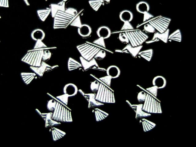 30 Pcs Tibetan Silver Flying Witch Charms Broomstick Halloween Craft A60