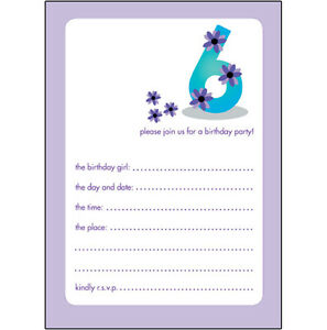 Details About Pack Of 10 Childrens Birthday Party Invitations 6 Years Old Girl BPIF 19 Purple