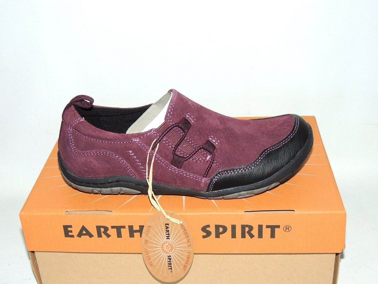 EARTH SPIRIT 'FRENSO' PRUNE SUEDE SLIP ON SHOES TRAINERS. BNIB