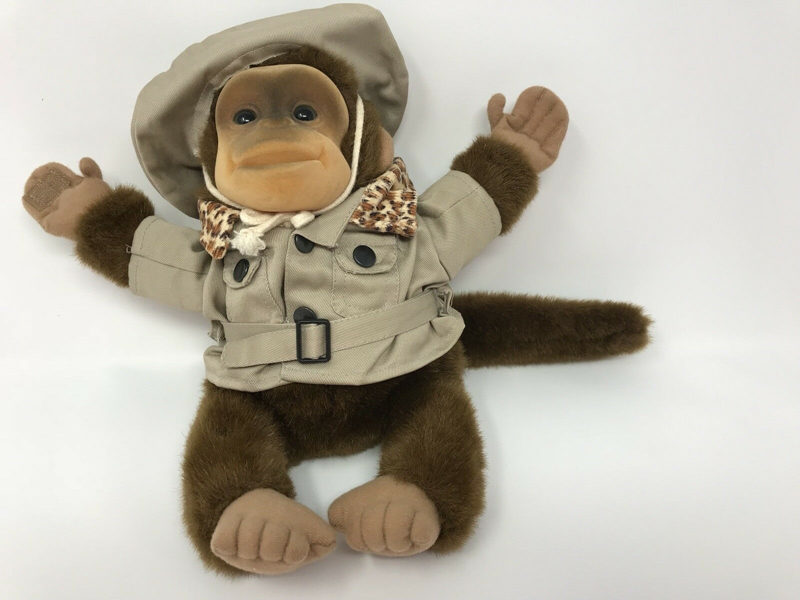 1992 Hosung Safari Monkey Hand Puppet Realistic Plush Toy with Squeaker Squeaks