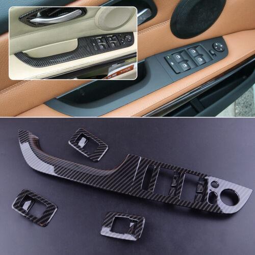 Für BMW 3er E90 Sedan Kohlefaser Tür Fensterschalter Abdeckung Rahmen Blende A8