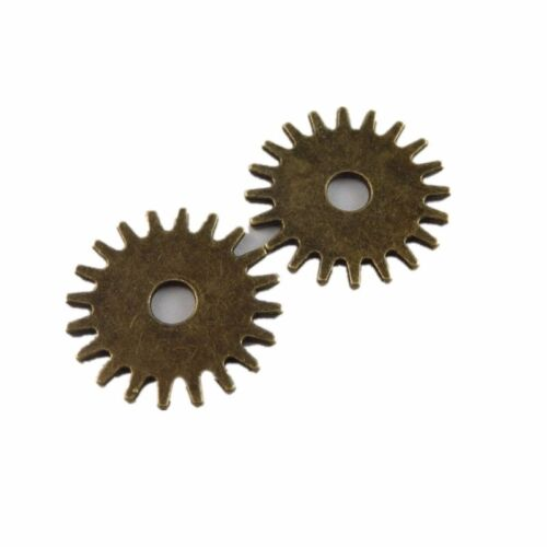 50679 Antique Bronze Alloy Round Gear Wheel Pendant Charm Jewelry Crafts 20pcs