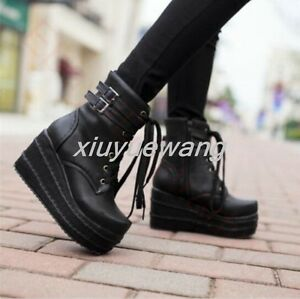 Womens-Platform-Wedge-Buckle-Decor-Black-Lace-Up-Ankle-Boots-Punk-Goth-Creeper