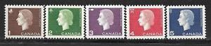 Canada-401-405-Queen-Elizabeth-II-Cameo-Issue-Complete-Set-MNH