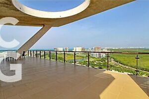 Departamento en Renta en Cancun en Residencial Be Towers PH con Vista al Mar