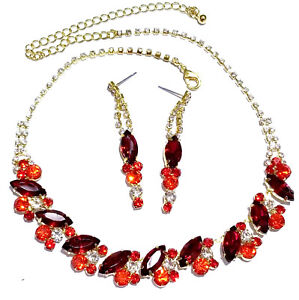 Rhinestone-Choker-Necklace-Earring-Set-Austrian-Crystal-Pageant-Prom-Party-Red