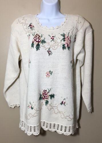 Vintage 1990s Ivory Knit Floral Sweater Cottagecor