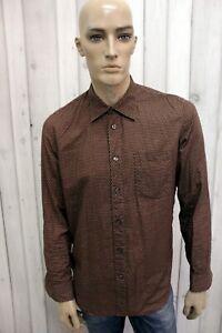 Camicia-a-Pois-HUGO-BOSS-Uomo-Taglia-L-Cotone-Chemise-Shirt-Casual-Manica-Lunga