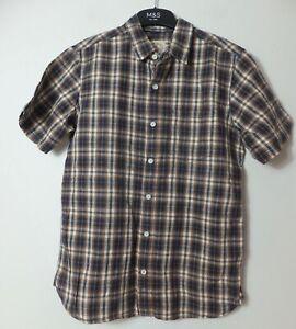 New Men's FatFace Sundown Orange Linen Short Sleeve Summer Shirt Size XS