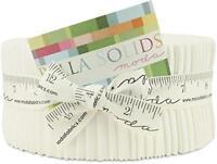 Moda Bella Solids White Bleached 9900-98 Jelly Roll, 40 2.5x44-inch Cotton Fabri