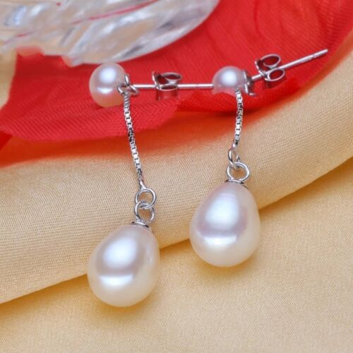 Dangling Drop Silver 925 Earrings 4 color choices Natural Freshwater 9mm Pearl