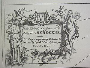 Vintage 1753 Facsímil Costa Tabla / Mapa ~ City Of Aberdeene Aberdeen Dundee