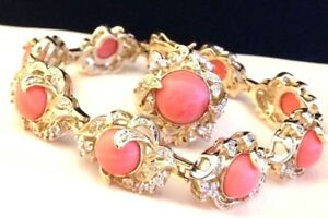 Uncas-Sterling-Silver-Bracelet-amp-Ring-Set-Vermeil-Burmese-Coral-CZ-925