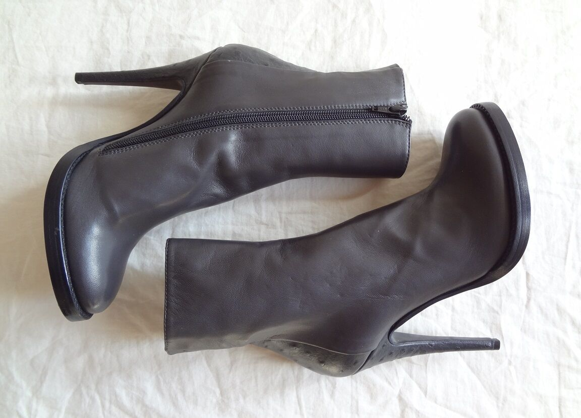 Haider Ackermann gray ankle boots sz 37.5   - Ostrich skin / Sold Out