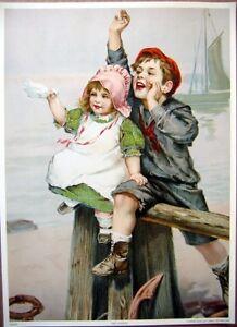 art-print-SEE-YA-SOON-Children-on-Beach-Nautical-Victorian-boat-vtg-re-10-5x14-5