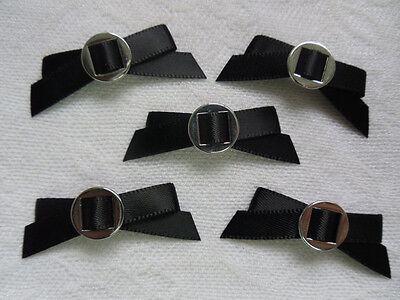 "1-5/8"" Black Satin Ribbon Bows w/ Buckle Slider-Lots 8Pcs-R0122B"