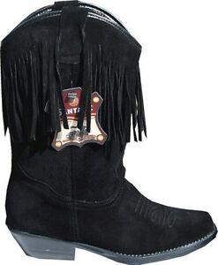 scarpe sportive 14644 9ae03 Dettagli su Donna Stivali Da Cowboy 7500 neri in pelle scamosciata nappe  western line dance Costume- mostra il titolo originale