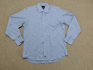 David-Donahue-Dress-Shirt-Men-Size-16-1-2-Neck-34-35-Sleeve-Trim-Fit-Blue-White