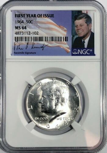 1964 P NGC MS64 SILVER KENNEDY HALF DOLLAR FIRST YEAR ISSUE JFK COIN SIGNATURE